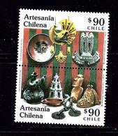 Chile 953a MH 1991 Cultural Art Pair - Chile