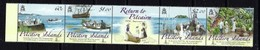 Pitcairn Is 684 NH 2009 Return To Pitcairn Anniv Strip Of 5 Been Folded - Stamps