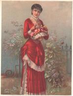Chromo Grand Format. Victorian Trade Card. Femme Tenant Une Corbeille Fleurie. Testu Massin 15-6/1 - Autres