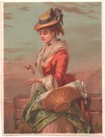 Chromo Grand Format. Victorian Trade Card. Femme Tenant Une Corbeille Avec Des Tissus. Testu Massin 14-50/2 - Autres