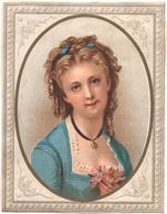 Chromo Grand Format. Victorian Trade Card. Jeune Femme à Demi-corps En Encadrement Ovale. Testu Massin 13-53/1 - Autres