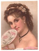 Chromo, Victorian Trade Card. Jeune Femme à L'éventail (demi-corps). Testu Massin 13-50/4 - Autres