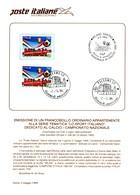 Italia 1994 BOLLETTINO ILLUSTRATIVO N.10 MILAN CAMPIONE D'ITALIA.CON FRANCOBOLLO ANNULLO FDC.+2 - 6. 1946-.. Repubblica