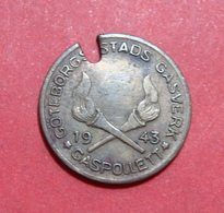 1943 SWEDEN GASPOLLET JETON, 17 Mm. - Professionnels / De Société