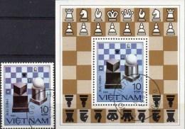 Schach-Figur 1983 Vietnam 1342+Block 18 O 4€ Moderne Schachbrett Bloque Hb Ms Chess Bloc Souvenir Sheet Bf Viet Nam - Schaken