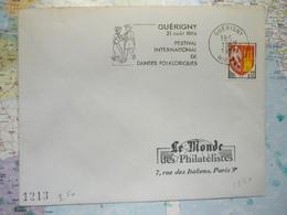 Guérigny 21 Aout 1966 Festival International De Danses Folkloriques - Marcophilie (Lettres)