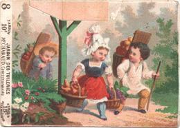 RARE Chromo, Victorian Trade Card. TICKET DE CHAISE. Personnages Portant Des Corbeilles De Fruits. Testu Massin 32-15/3 - Autres