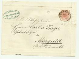 FRANCOBOLLO DA 3  KREUZER BRUNECK 1857   SU FRONTESPIZIO - Oblitérés