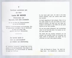 DOODSPRENTJE DE WEVER VAN DER CAMMEN ° BORCHTLOMBEEK 1912 + ASSE 1996 LID DUIVENBOND - Images Religieuses