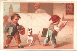 Chromo, Victorian Trade Card. Les écoliers. Près De L'école, Surveillés Par Leur Maitre. Testu Massin 32-22/3 - Autres