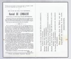 DOODSPRENTJE DE LOMBAERT HENDRICKX ° HERZELE 1855 + 1955 DE HOOGST-BEJAARDE INWONER VAN DE PAROCHIE BIJNA 100-JARIGE - Images Religieuses