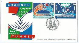Enveloppe 1er Jour France FDC Tunnel Sous La Manche 1994 - 1990-1999