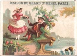 Chromo, Victorian Trade Card. La Bonne Verse Du Vin à Monsieur. Paysage Romantique. Testu Massin 32-31/2 - Autres