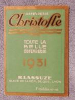 Ancien Calendrier De Poche Petit Format 1931 Orfèvrerie Christofle R Lassuze Lyon - Petit Format : 1921-40