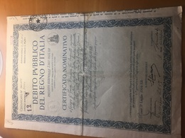 DEBITO PUBBLICO DEL REGNO D'ITALIA-CERTIFICATO NOMINATIVO-17-1934 - Azioni & Titoli