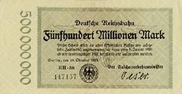 Notgeld Reichsbahn 500  Millionen Mark  Berlin - [ 3] 1918-1933 : Repubblica  Di Weimar