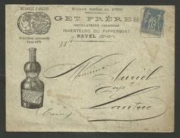 """Enveloppe Illustrée """" GET FRERES Distillateurs & Inventeurs Du Pippermint """" REVEL - HAUTE GARONNE / 1887 - Alimentaire"""
