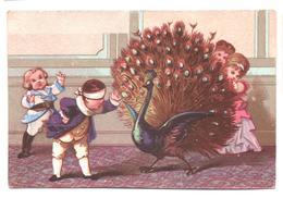 Chromo Victorian Trade Card. Aventures D'enfants Et Animaux. Le Pavon Et Colin-maillard. Testu Massin 32-71/8 - Autres