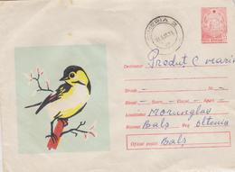 COVER ROMANIA 1967 BIRDS, CACNEL SIMERIA TO BALS, WITH FIXED MARK COAT OF ARMS, TIRAJ LIMITED ROMANIA 1967 - 1948-.... Républiques
