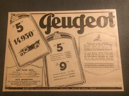 ANNEES 20/30 PUBLICITE AUTOMOBILE PEUGEOT 5CH - Vieux Papiers