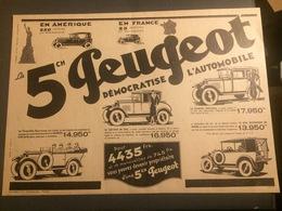 ANNEES 20/30 PUBLICITE AUTOMOBILE PEUGEOT 5CH EN AMERIQUE EN FRANCE - Vieux Papiers