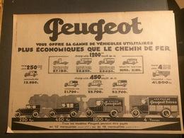 ANNEES 20/30 PUBLICITE AUTOMOBILE PEUGEOT PLUS ECONOMIQUE QUE LE CHEMIN DE FER - Vieux Papiers