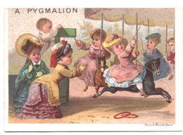 Chromo, Victorian Trade Card. A Pygmalion. Le Chevaux De Bois. La Giostra Dei Cavalli Di Legno. Testu Massin 32-72/4 - Autres
