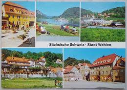 Sächsische Schweiz - Stadt Wehlen  // Karl-Marx-Platz, Liegewiese, Anlegestelle, Eis-Café Elbterrasse //  Vg DDR - G2 - Wehlen