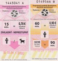 1338(3) BRATISLAVA, Slovakia Slovaquie Slovacchia Eslovaquia. 2 Tickets Bus / Autobus (2014). - Bus