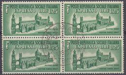 REPUBBLICA SOCIALE ITALIANA - 1944 - Quartina Usata Espresso Yvert 6. - 4. 1944-45 Repubblica Sociale