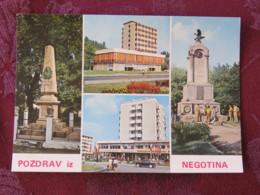 Serbia Unused Postcard Negotin Multiview Statue Hotel - Serbie