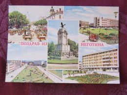 Serbia Unused Postcard Negotin Multiview Monument Hotel Street Views - Serbie