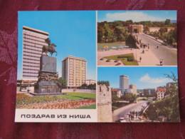 Serbia Unused Postcard Nis Multiview Horse Statue Bridge River - Serbie