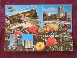 Serbia Unused Postcard Nis Multiview Rose Flowers Bridge Horse Statue - Serbie