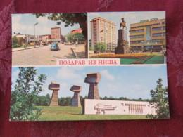 Serbia Unused Postcard Nis Multiview Horse Statue Street View Monument - Serbie