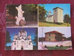 Serbia Unused Postcard Oplenac Multiview  Church Monument Military Barracks Churches Of Topola And Oplenac - Serbie