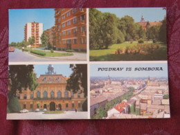 Serbia Unused Postcard Sombor Multiview Panorama City Hall Church - Serbie