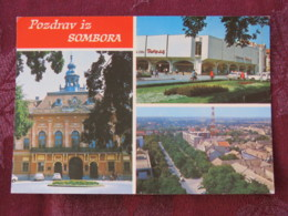 Serbia Unused Postcard Sombor Multiview Church Panorama - Serbie