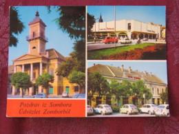 Serbia Unused Postcard Sombor Multiview  Church Cars - Serbie