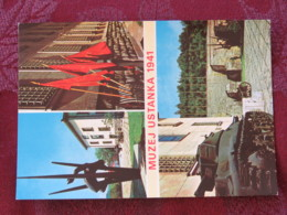 Serbia Unused Postcard Uzice Titovo Building Ustanka Museum War Statue - Serbie
