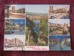 Serbia Unused Postcard Uzice Titovo Multiview River Bridge Cars - Serbie