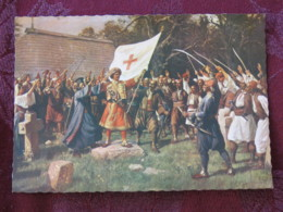 Serbia Unused Postcard Beograd Museum Assambly Of Rebels At Takovo - Flag - Serbie