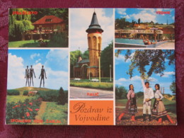 Serbia Unused Postcard Vojvodina Multiview Strazilovo Spomenik Church Traditional Costumes Pool - Serbie