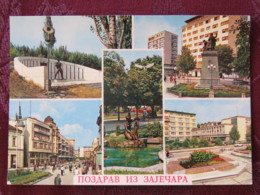Serbia Unused Postcard Zajecar Multiview Buildings Statue Monument - Serbie