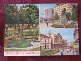 Serbia Unused Postcard Zajecar Multiview Buildings Statue - Serbie