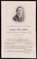 Mémento Décès - Henri Roux - 210ème Régiment D'Infanterie - 27/11/1914 - Nuits-Saint-Georges (21) Bois Brûlé (55) WW1 - Décès