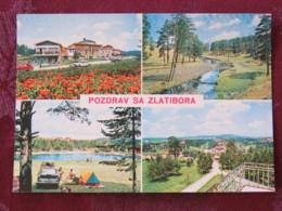 Serbia Unused Postcard Zlatibor Multiview Forest River Hotel Camping Tent Car - Serbie