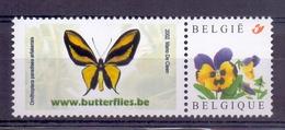 Belgie - Duostamp - Vlinder - Ornithoptera Paradisea Arfakensis - **  Met Viooltje - Beperkte Uitgifte** - Neufs