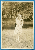 8-34127 LÜBECK Germany 30.5.1929. Girl With Stuffed Toy Dog. Photo. - Personnes Anonymes