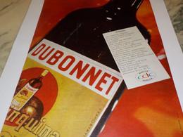 ANCIENNE PUBLICITE BOISSON DUBONNET ET MELODIE DU MONDE 1960 - Alcools
